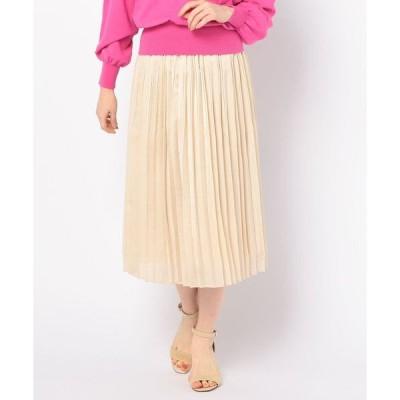 スカート サテンオーガンジープリーツスカート