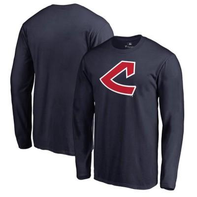 クリーブランド・インディアンス Fanatics Branded Cooperstown Collection Huntington Long Sleeve T-シャツ - Navy