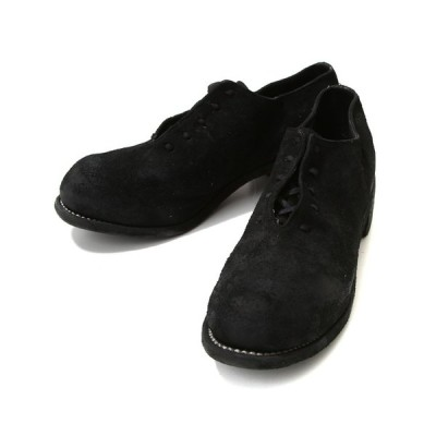 GUIDI / グイディ : BALMORAL SHOES -HORSE REVERSE- : レザー シューズ leather-fair-shoes スエード 短靴 ブーツ : PL10L-HORSEREVERSE-BLKT