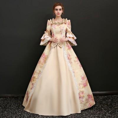 花柄 豪華ロングドレス ステージ衣装としても最適 お姫様ドレス プリンセスライン 貴婦人 貴族 服 プリンセスラインお姫様ドレス