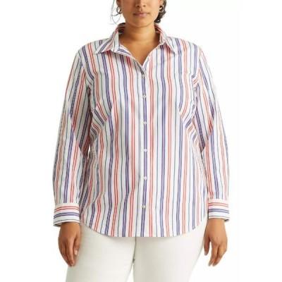 ラルフローレン カットソー トップス レディース    Plus Size Striped Cotton Broadcloth Shirt -