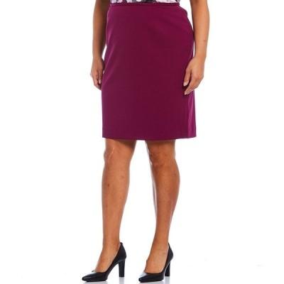 カルバンクライン レディース スカート ボトムス Plus Size Scuba Crepe Pencil Skirt Dark Purple