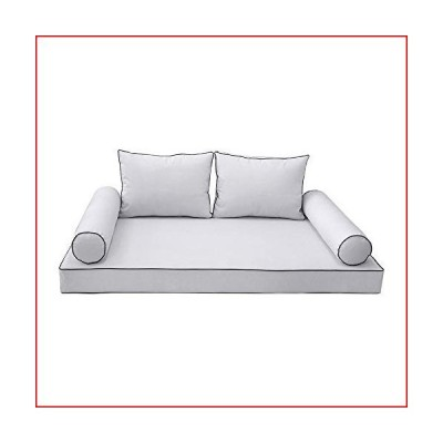 DBM IMPORTS Style1 5PC Contrast Pipe Outdoor Daybed Mattress Cushion Bolster Pillow Complete Set-Twin-XL Size AD105【並行輸入品】