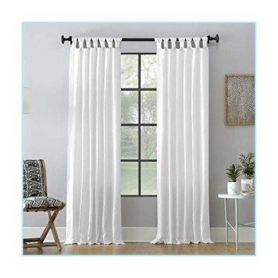 "新品Archaeo Washed 100% Cotton Twist Tab Curtain, 52"" x 63"" Panel, White"