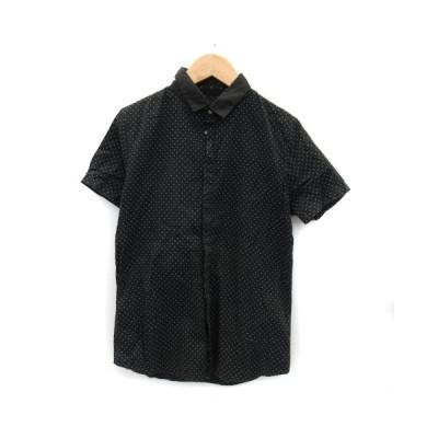 【中古】アトウ ato シャツ カジュアル 半袖 ドット柄 46 黒 ブラック /YK33 メンズ 【ベクトル 古着】
