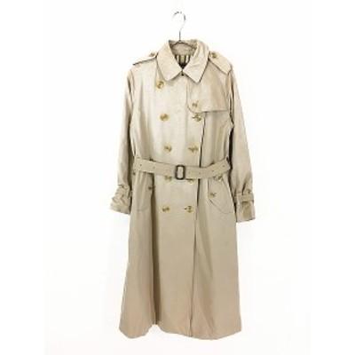 レディース 古着 70s 英国製 BURBERRY ダブル ブレスト トレンチ コート ロング丈  1枚袖!! L位 古着