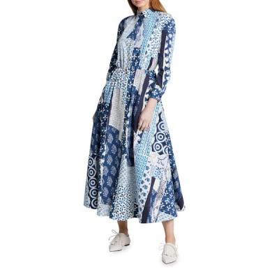 オスカー デ ラ レンタ レディース ワンピース トップス Patchwork Cotton Poplin Bracelet Sleeve Collared Dress