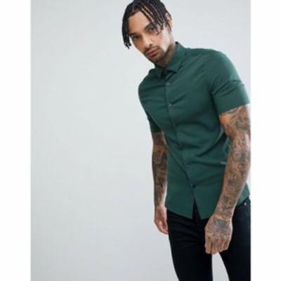 エイソス シャツ ASOS DESIGN skinny viscose shirt in pine green Green