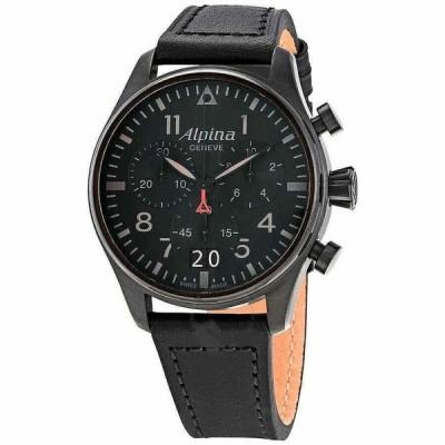 アルピナ 腕時計 Alpina Startimer スタータイマー Pilot クロノグラフ Big Date Shadow クォーツ Watch, AL-372BB4FBS6