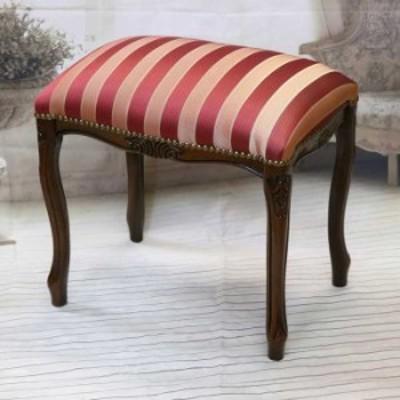 スツール イタリア製 猫脚 レッドストライプ 軽量 木製 完成品 クラシック イタリア家具 ブラウン ロココ エレガント