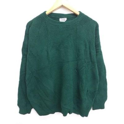 古着 レディース セーター 大きいサイズ 緑 グリーン 19mar25 中古 ニット トップス