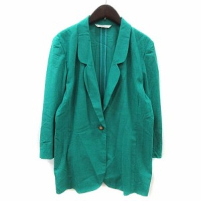 【中古】シャレブラン Chalet Blanc テーラードジャケット 麻混 リネン混 緑 グリーン /MS レディース