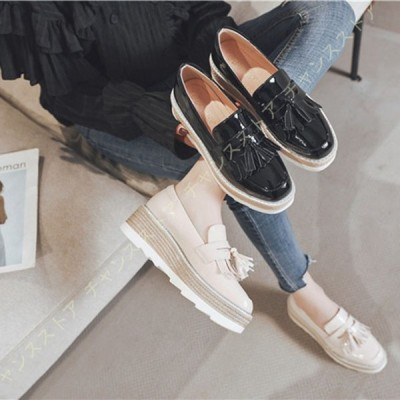 ローファー レディース 黒 スクエアトゥ ウェッジヒール 婦人靴 学生靴 歩きやすい カジュアル 柔らかい プラットフォーム 通勤 通学
