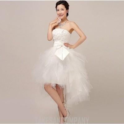 花嫁 二次会 ドレス ウェディングドレス/結婚式/手作り ウエディングドレス/ ワンピース/ミニドレス ふわふわ チューチュー 白