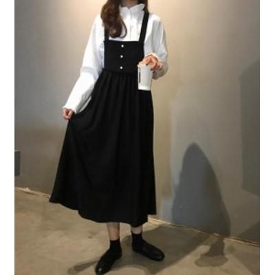 韓国 ファッション レディース ワンピース ジャンパースカート ロング ハイウエスト フレア バッククロス ゆったり ガーリー シンプル