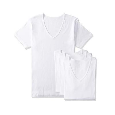 セシール インナーシャツ 綿100% 半袖V首 抗菌防臭・吸汗速乾 同色4枚組 メンズ ホワイト 日本 LL (日本サイズ2L相当)