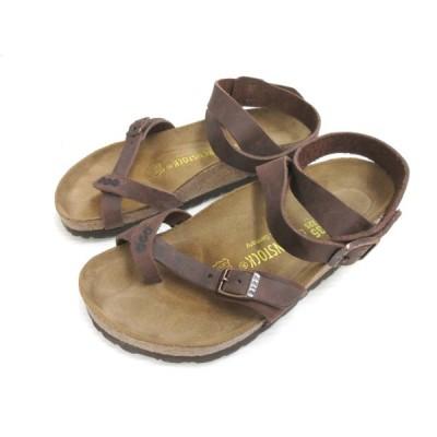 【中古】ビルケンシュトック BIRKENSTOCK YARA ヤラ サンダル レザー 本革 22.5 茶色 ブラウン 靴 シューズ レディース 【ベクトル 古着】