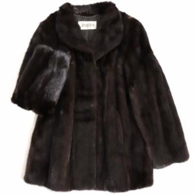 毛並み極美品▼Josephine MINK ジョセフィーヌ ミンク 本毛皮コート ダークブラウン 毛質艶やか・柔らか◎