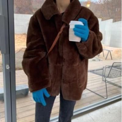 韓国 ファッション レディース ファージャケット アウター ふわふわ ゆったり カジュアル 大人可愛い シンプル 防寒 暖かい 秋冬