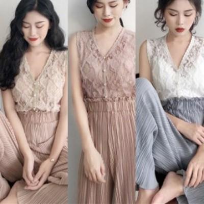 レディース セットアップ 夏 韓国 ファッション レディース ブラウス vネック ボタン レース シャツブラウス ノースリーブ プリーツ ワ