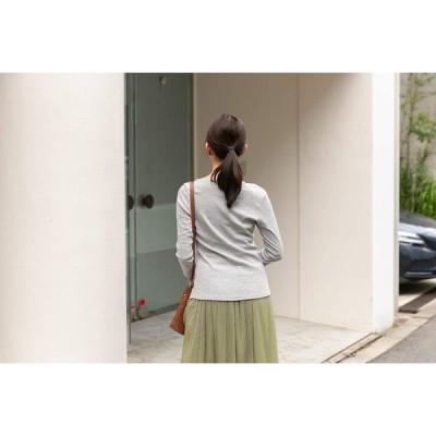 アスペルシオ Uネック 8分丈 フライス Tシャツ レディース 8分袖 8分そで tシャツ ロングt ロンt ロングシャツ ティーシャツ ロ