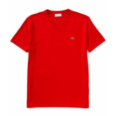 ラコステ メンズ シャツ トップス Pima Cotton Short-Sleeve V-Neck Tee Red