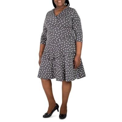 ロビービー ワンピース トップス レディース Plus Size Polka-Dot Ruffled Wrap Dress Grey