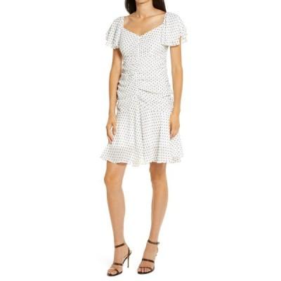 フォーシースリーエヌエヌエー ワンピース トップス レディース Marley Ruched Minidress White-Black Dot