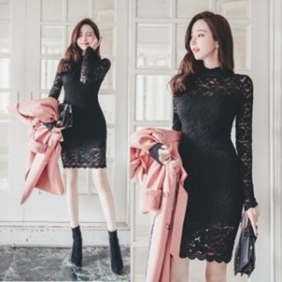 ミニドレス パーティードレス ミニ ドレス ワンピース 袖付き 長袖 総レース ブラックドレス タイトドレス