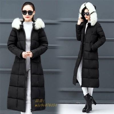 中綿コート ロングコートフード付き 着痩せ 中綿ジャケット レディース おしゃれ ダウン風コート ロング丈 ファー付き 大きいサイズ あったか 防寒 アウター
