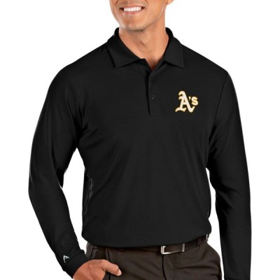 アンティグア Antigua メンズ ポロシャツ トップス Oakland Athletics Tribute Long Sleeve Performance Black Polo