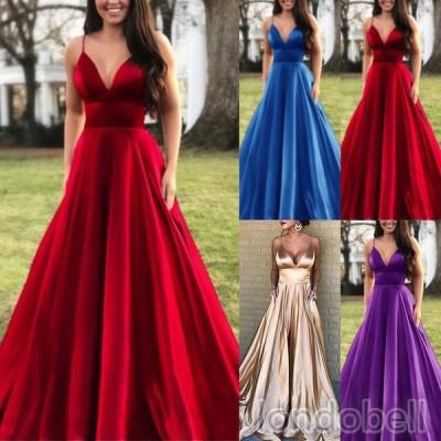 ロングドレス ウェディングドレス パーティードレス カラードレス イブニングドレス 豪華な エレガント 女性 ワンピース Vネック キャミ 結婚式 花嫁 お呼ばれ