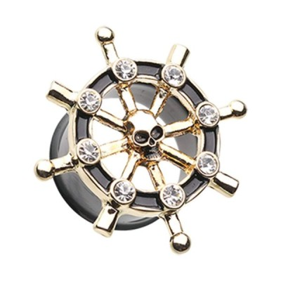 """Golden Pirate Ship Anchor Wheel Ear Gauge WildKlass Plug (7/16"""" (11mm)"""