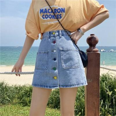 台型スカート ハイウェスト 学院風  レディース  ミニースカート デニム ショート 女性用可愛いスカート  カジュアル台型 春 夏 可愛い ボトムス