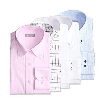 [ドレスコード101] 定番の白シャツに好印象デザインシャツ4枚をプラスした ワイシャツ 5枚 SHDZ15-SET メンズ(ボタンダウン M)