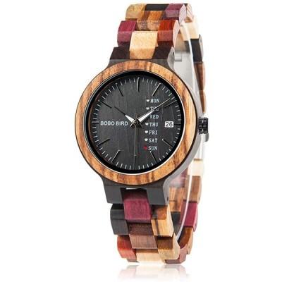 【正規販売店】 BOBO BIRD メンズ レディース 木製腕時計 カラフル 木材 腕時計 デイデイト表示 多機能 手作り クォーツ時計 スポーツ クロノグラフ レディース