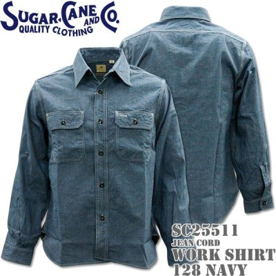 Sugar Cane シュガーケーン JEAN CORD L/S WORK SHIRT ジーンコード・ワークシャツ SC25511-128 Navy