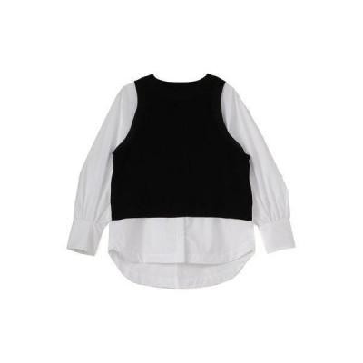 ヴァンヌフ Vingt Neuf 29 重ね着調ドッキングシャツ (ホワイト)