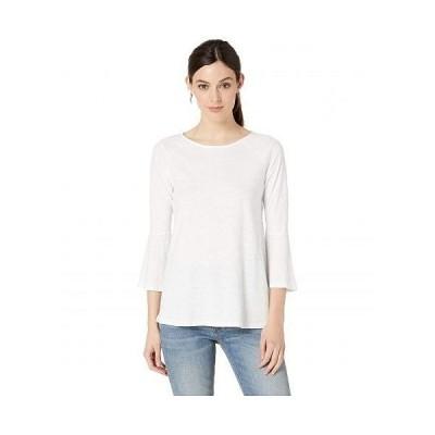 Mod-o-doc モッドオードック レディース 女性用 ファッション Tシャツ Slub Jersey Raglan Flounce Sleeve Tee - White