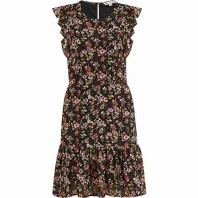 メラ ロンドン Mela London レディース ワンピース ミニ丈 ワンピース・ドレス Black Floral Frill Mini Dress Black