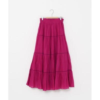 coen レディース コットンボイルティアードロングスカート(マキシスカート/ティアードスカート) ピンク