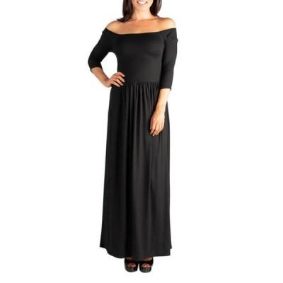24セブンコンフォート レディース ワンピース トップス Women's Midi Length Fit-and-Flare Pocket Dress