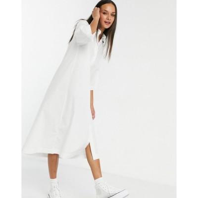 モンキ ミディドレス レディース Monki Elin organic cotton midi shirt dress in white エイソス ASOS ホワイト 白