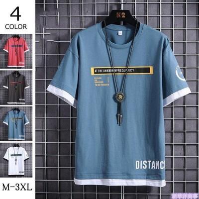 Tシャツ メンズ グルーネック 半袖 ティーシャツ 無地 半袖Tシャツ 夏 カジュアルTシャツ 英文 かっこいい 新作