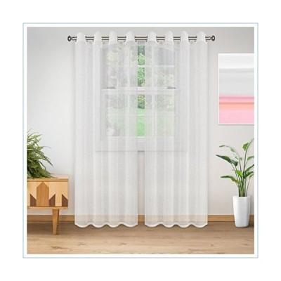 """Superior Quality Lightweight Embroidered Delicate Flower Sheer Stainless Grommets Window Treatment Curtain Panel (Set of 2) 52"""" x 96"""" - White並行輸"""