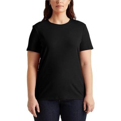 ラルフローレン レディース Tシャツ トップス Plus Size Short Sleeves Stretch Cotton T-Shirt Polo Black