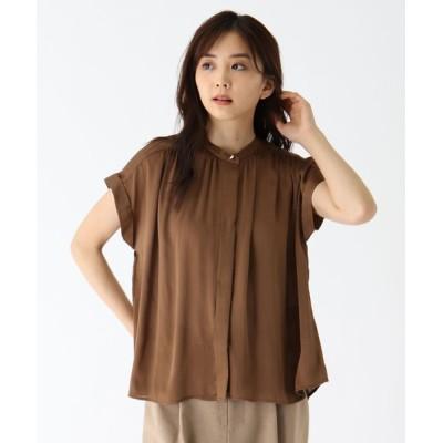 SOUP / こっくりカラーのさらさら肌感フレンチ袖ブラウス WOMEN トップス > シャツ/ブラウス