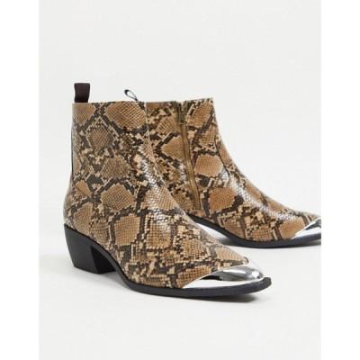 エイソス ASOS DESIGN メンズ ブーツ cuban heel western chelsea boots in brown faux leather with snake print angular sole and metal toe cap