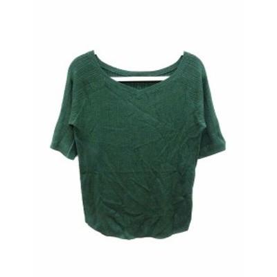 【中古】ベイフロー BAYFLOW ニット カットソー Vネック 五分袖 3 緑 グリーン /YK レディース