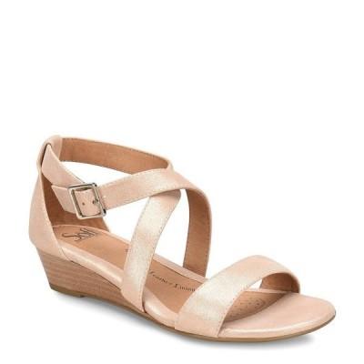ソフト レディース サンダル シューズ Innis Leather Stacked Wedge Sandals Rose Gold